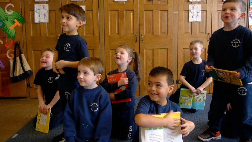 Pre-school students laughing