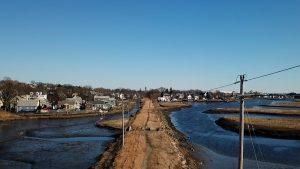 Aerial shot of community path