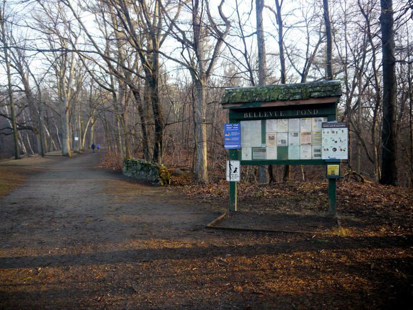The welcoming sign at Bellevue Pond.