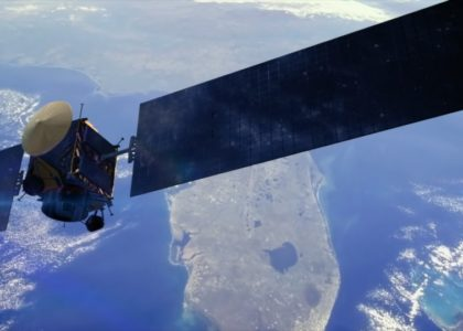 Satellite above the earth.