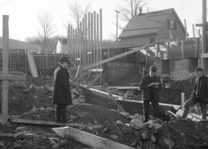 Black and white construction photo