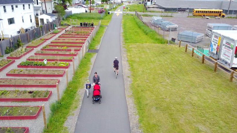 Aerial view of a bike rider on a bike path.