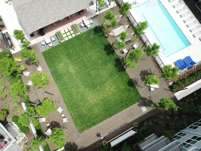 Aerial view of the courtyard in the apartment complex.